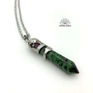 Ruby Zoisite Necklace   Stainless Steel Chain